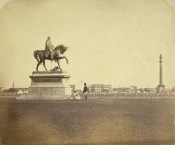 Lord Hardinge's statue, Calcutta [and] Ochterlony Monument.